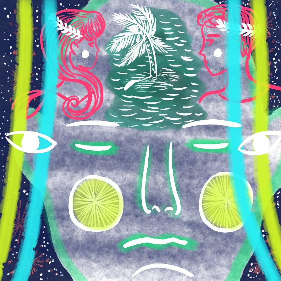 "An illustration of the Shakespeare expression, ""Such stuff as dreams are made on,"" with an abstract image of a person's face becoming an island in his sleep"