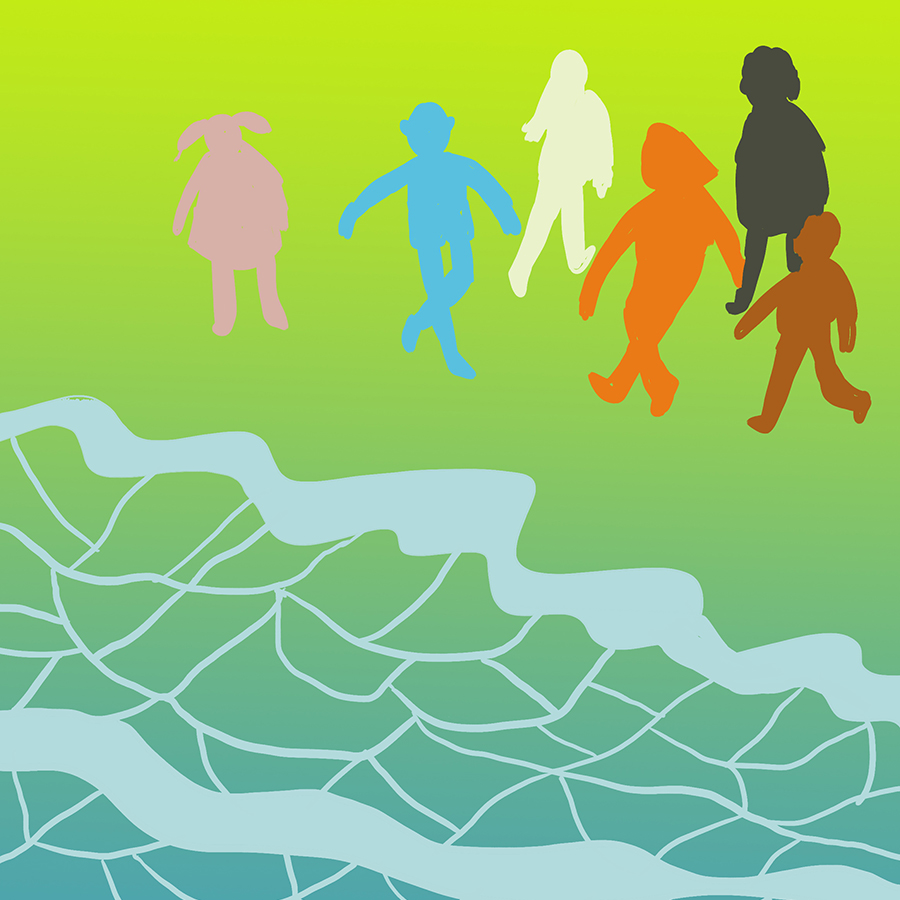 Metaphysical illustration of different colored children (pink, white, blue, orange, and black) by the sea