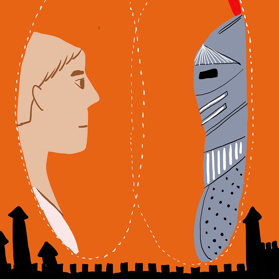 illustrated profile of a man and an armored knight connected by two overlapping circles with a fortress skyline below them
