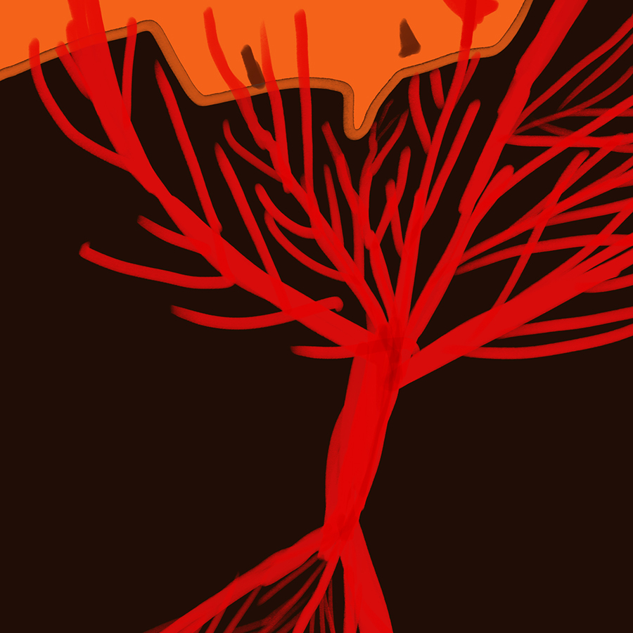illustration of a red tree with a human face staring down at it through its branches