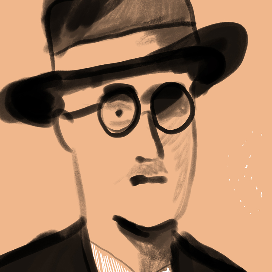 Illustration of a man resembling James Joyce wearing a hat and glasses