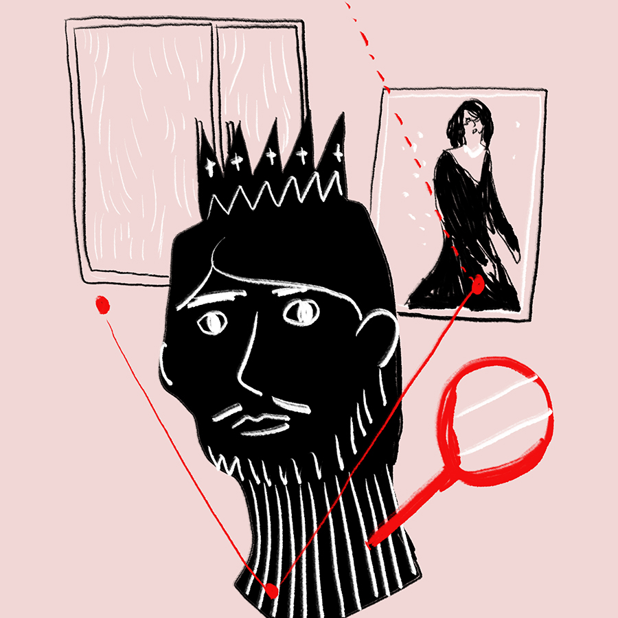 disembodied head of King Wilhelm of Bohemia connected by lines to a window and a portrait of a woman, Irene Adler, with a detective's magnifying glass off to the side