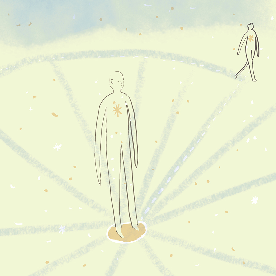 illustration of a person standing at the center of a circle and another person at the perimeter walking around, the two of them connected by a compass