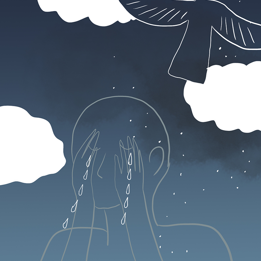 transclucent person crying with hands covering the eyes while a dove flies into the clouds in the night sky above