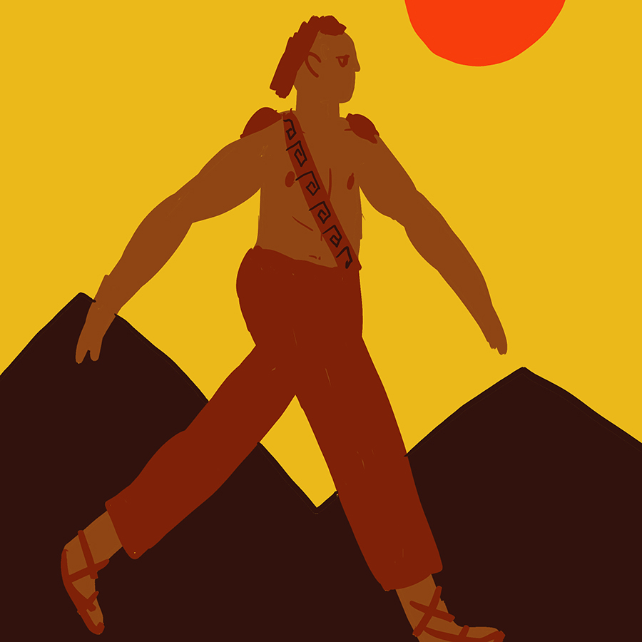 Illustration of Aeneas walking with mountains and the sun in the background