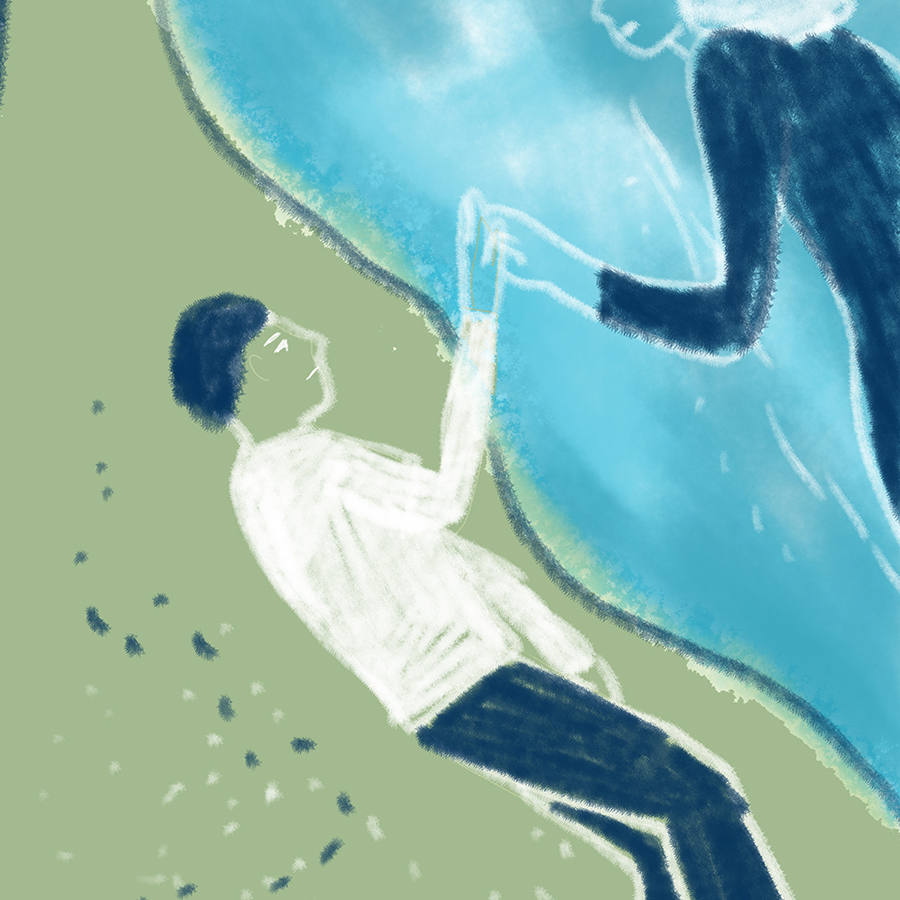 illustration of a man lying down on the beach with his hand extended to the water where the ghostly image of a young woman reaches out to touch his hand