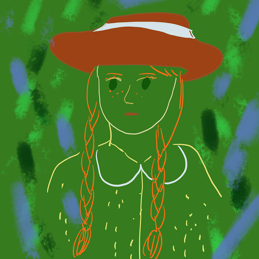 artistic illustration of main character Anne wearing a red hat
