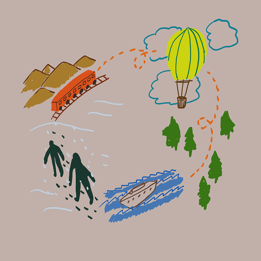 abstract illustration of two people journeying around the world on trains, boats, and hot air balloons