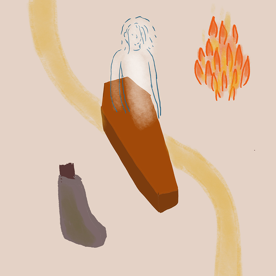 Abstract illustration of Addie Bundren partially in a casket next to a fire