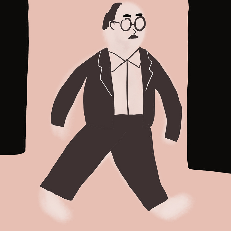 illustration of George Babbitt walking