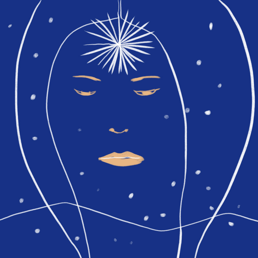 illustration of a starry night sky with one bright star in the middle of the horizon upon which is superimposed the outline of a woman's face