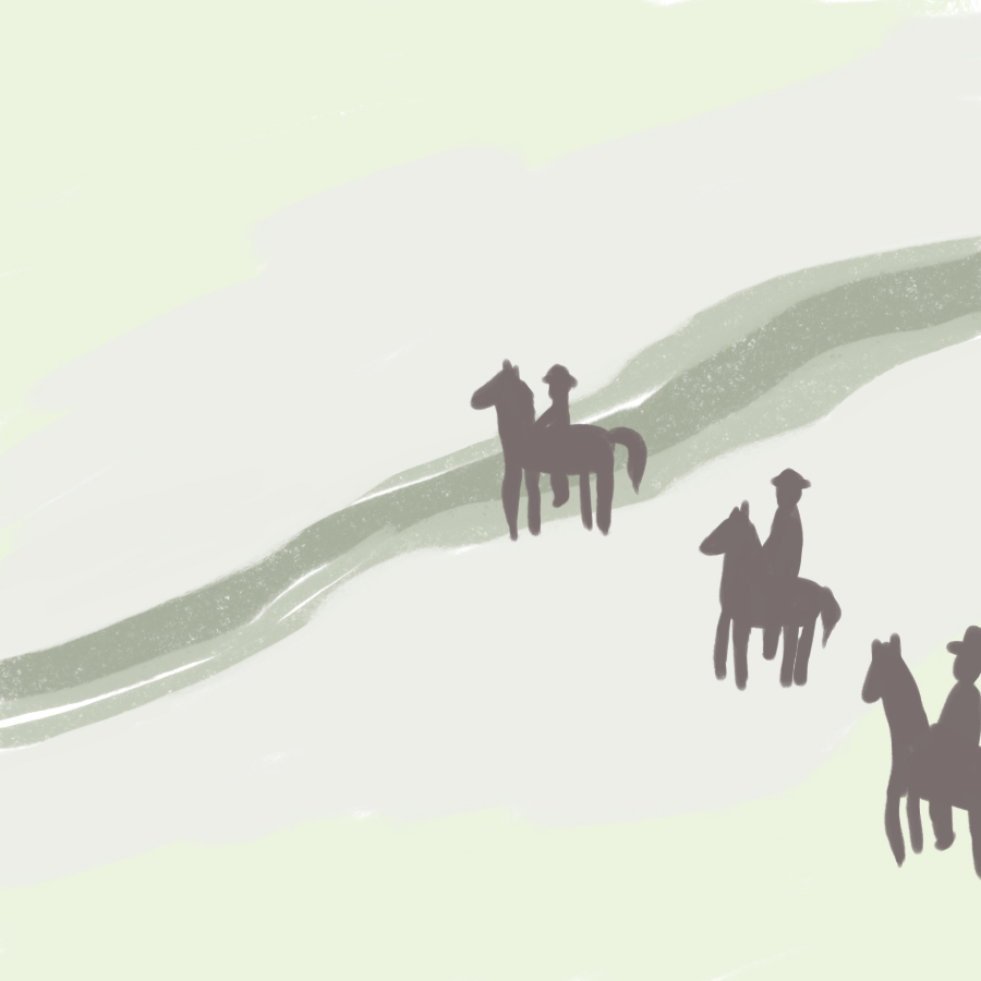illustration of three people on horseback crossing a river