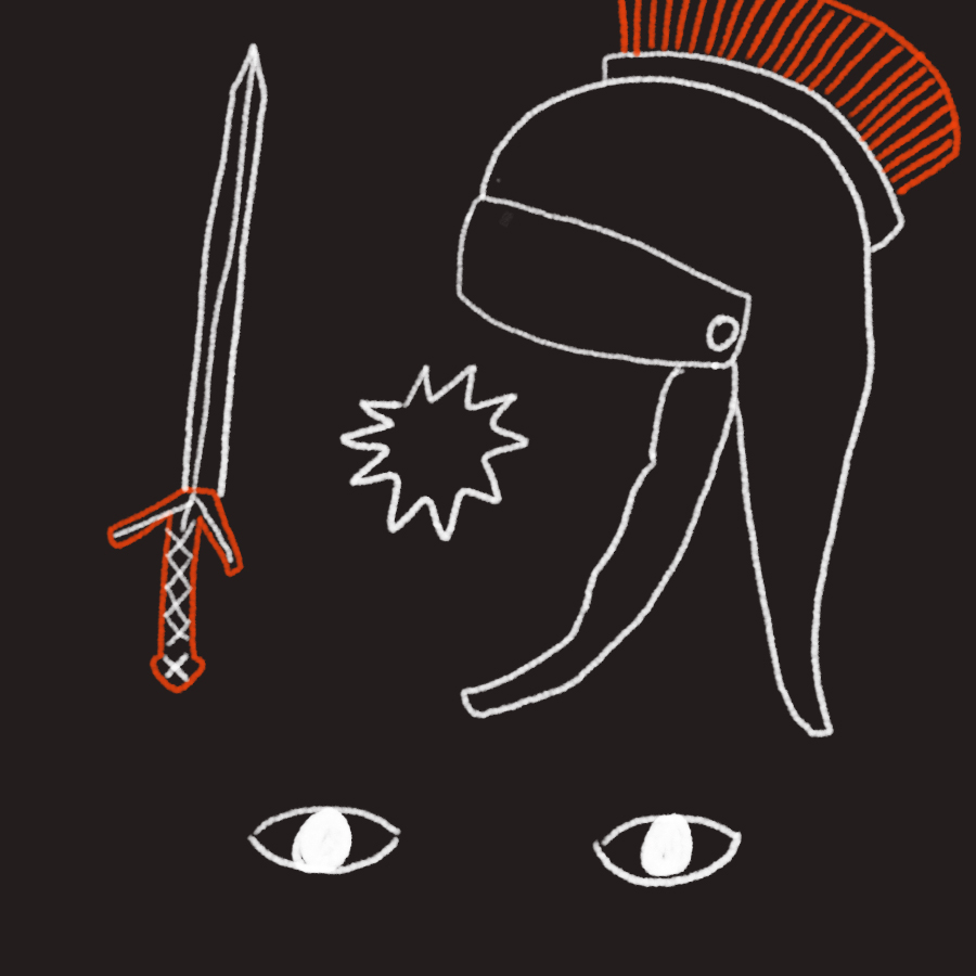 illustration of a sword, Roman helmet, and a pair of eyes in abstraction