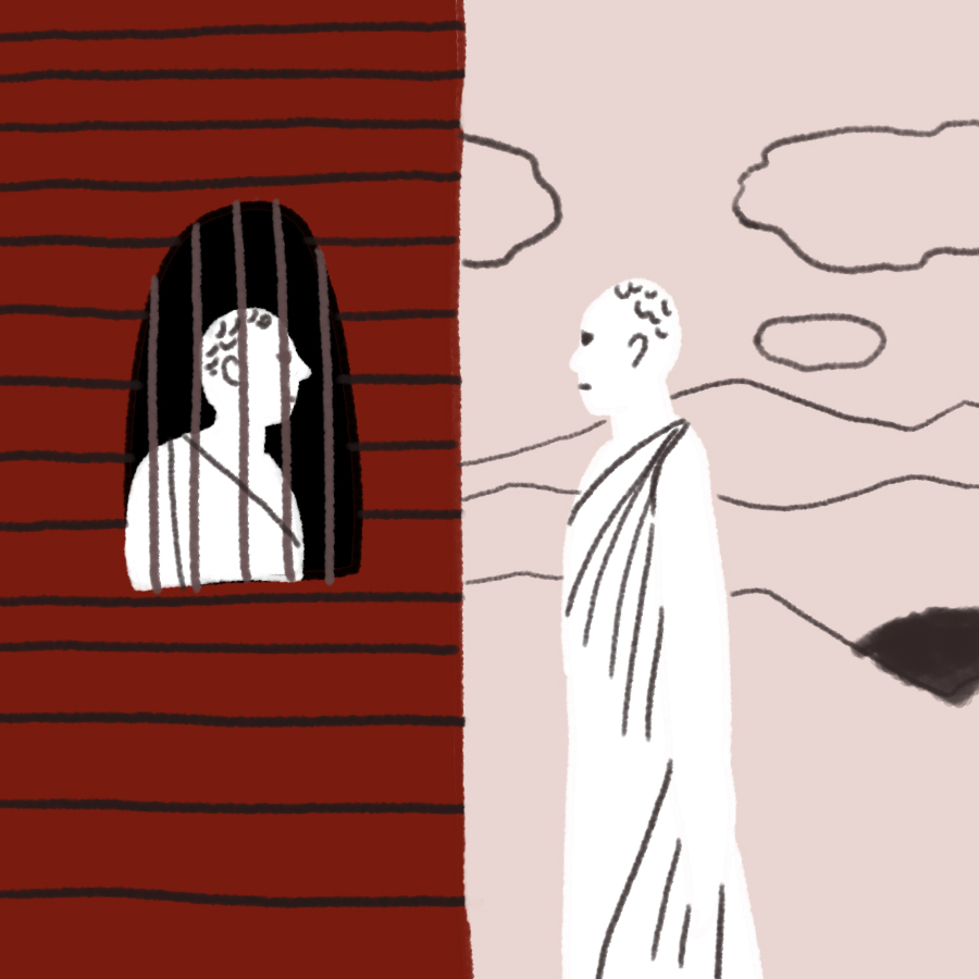 man standing outside a building speaking to Socrates through prison bars