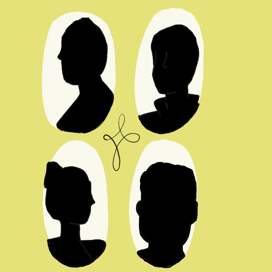 Illustration of a quartet of silhouetted portraits