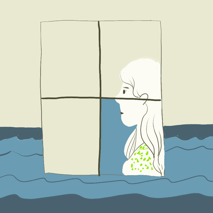 illustration of Eveline visible through a window and the window is set against the backdrop of an ocean