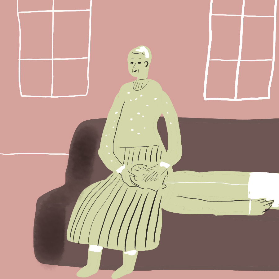 Illustration of a woman sitting on a couch with a man laying on the couch horizontally with his head on her lap