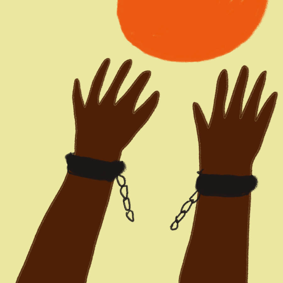 illustration of Black hard with broken manacles raised toward the sun