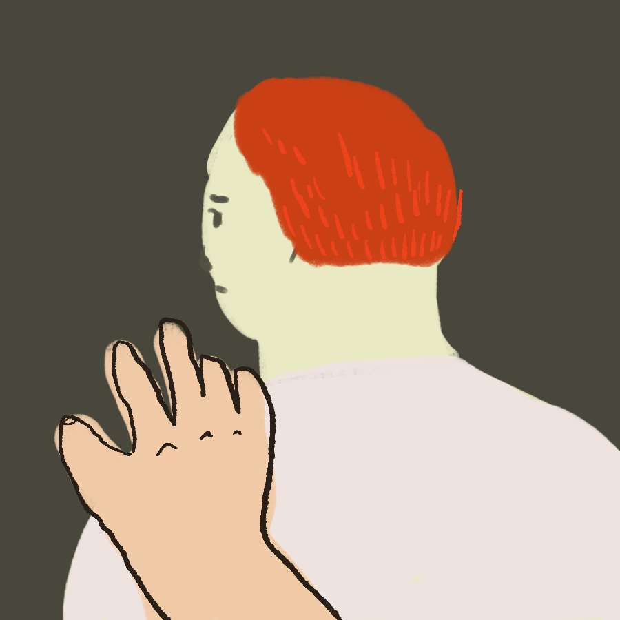 illustration of a hand reaching our toward the shoulder of another figure with red hair