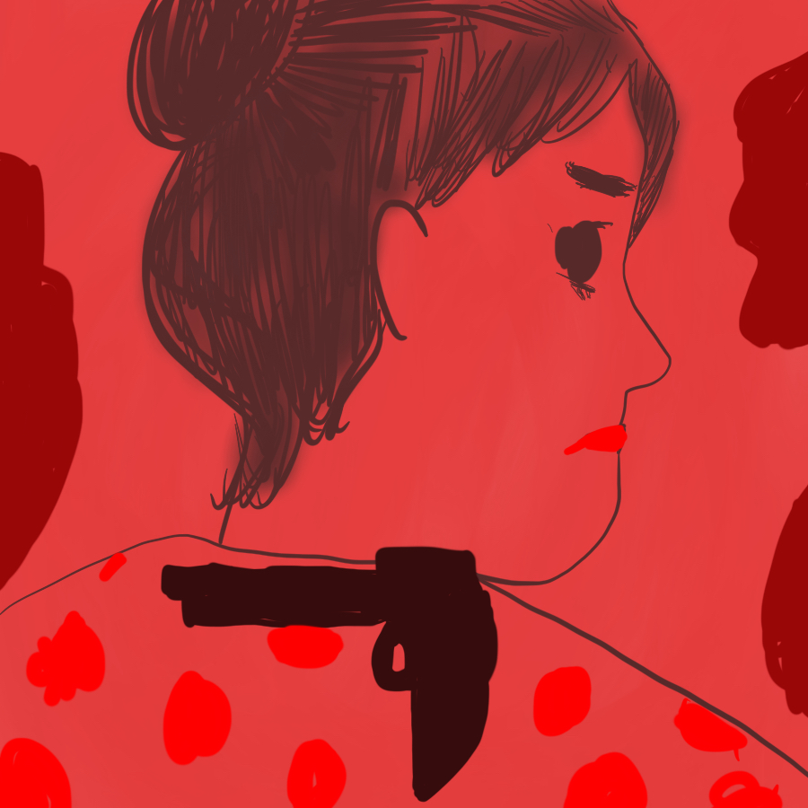 Abstract illustration of Hedda Gabler's profile and a gun