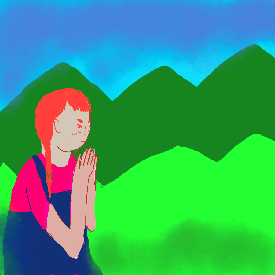 illustration of main character, Heidi, sitting in a mountain field wearing overalls with her hands clasped in front of her