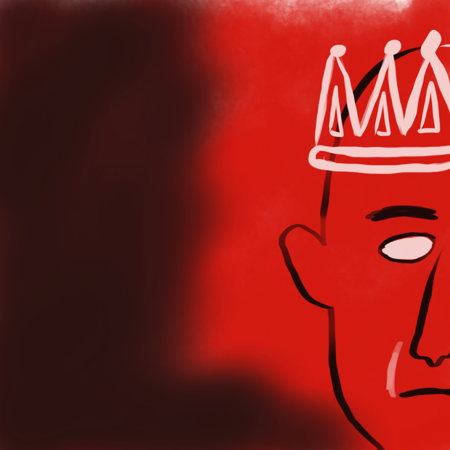 Illustration of part of a face wearing a crown and the person has dead white eyes