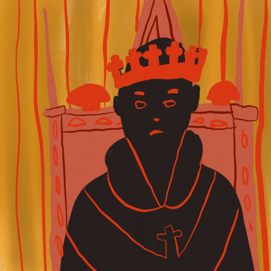 illustration of a man in black wearing robes that depict the Christian cross and wearing a crown while sitting on a throne