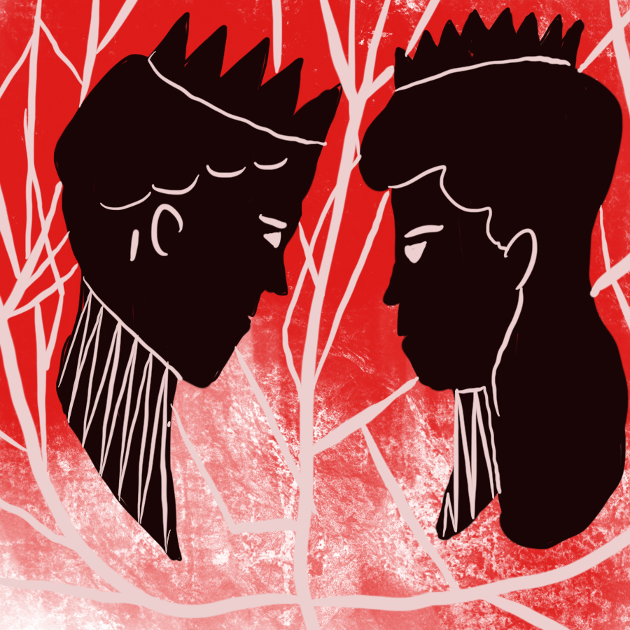 abstract illustration of a king's head and a queen's head staring at one another set against a red, broken background