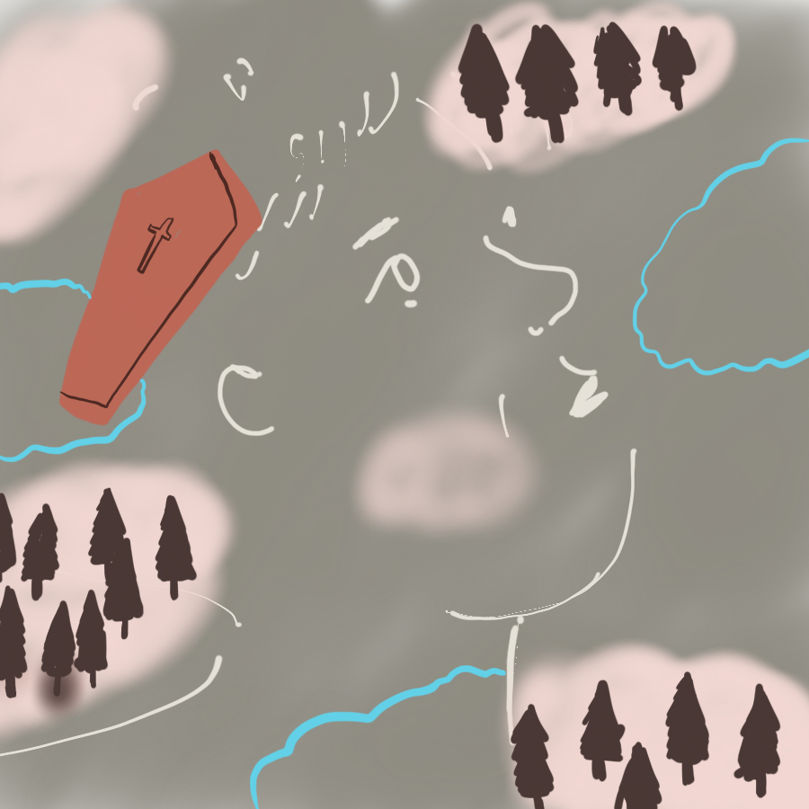abstract illustration of a coffin, forest, and clouds with the ouline of a human face superimposed on everything