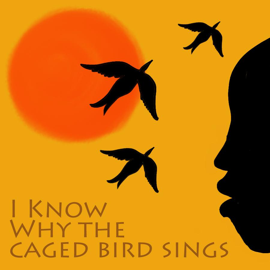 Illustration of the silhouetted profile of a person's face and three birds next to an orange sun