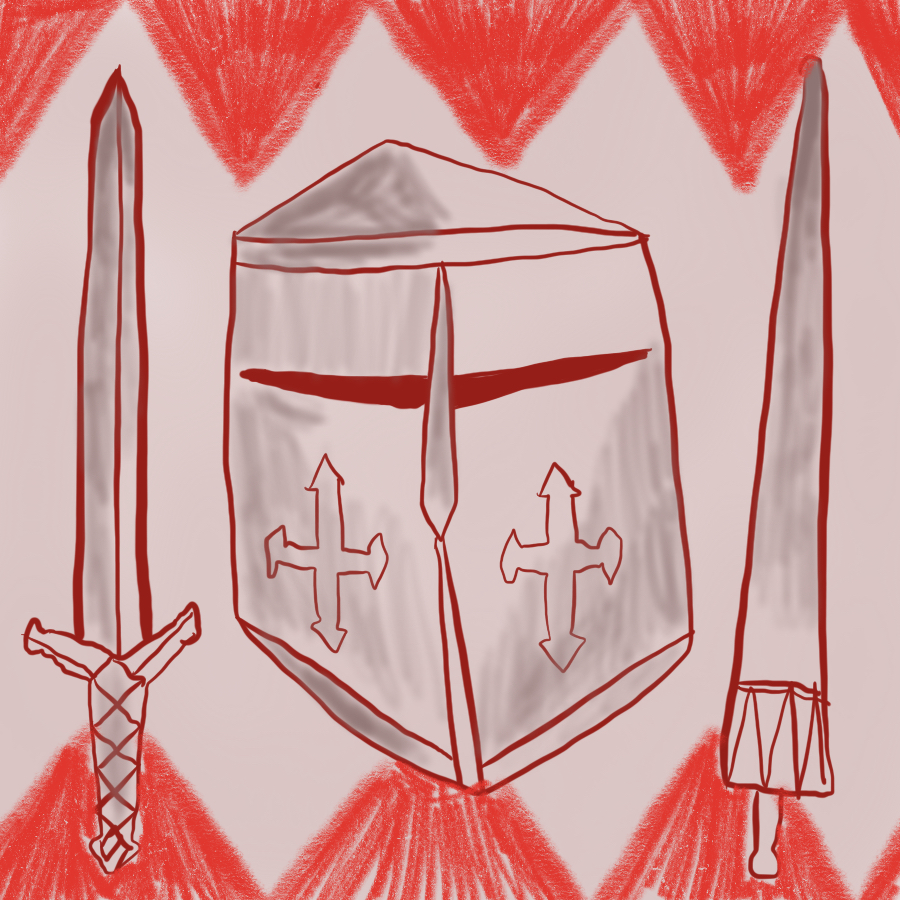 illustration of three items belonging to a knight: a sword, a helmet with Christian crosses decorating the cheeks, and a lance meant for jousting