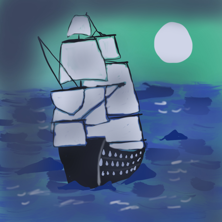 illustration of a three-masted galleon sailing the ocean at night
