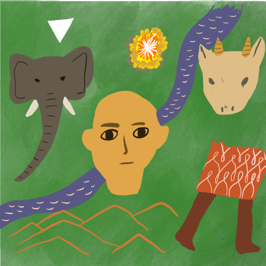 abstract illustration of a human head, elephant head, antelope head, set against a jungle background