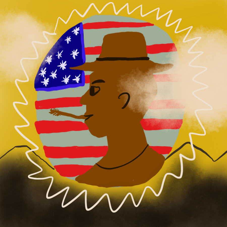 profile of a farmer with an American flag in the background all contained within a circle set against a mountain backdrop