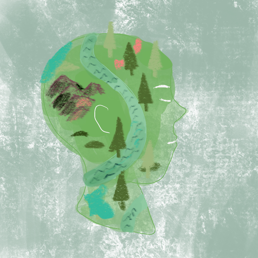 profile of person's head with eyes closed and headspace is filled with trees, mountains, and a river