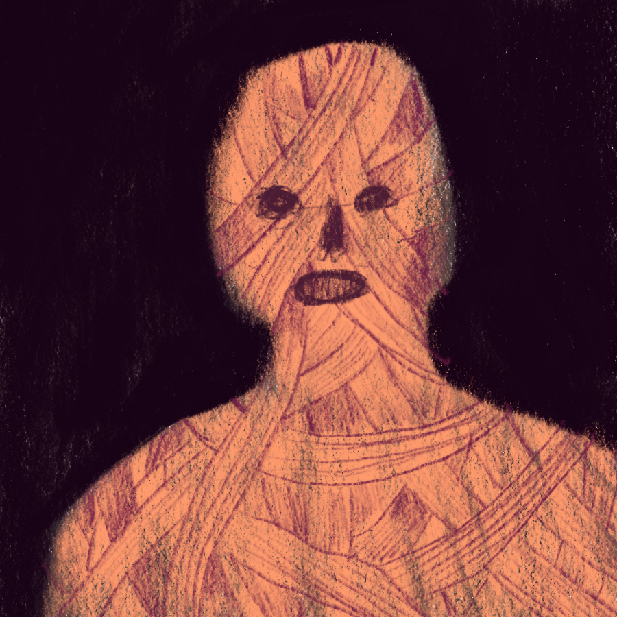 illustration of an evil looking mummy