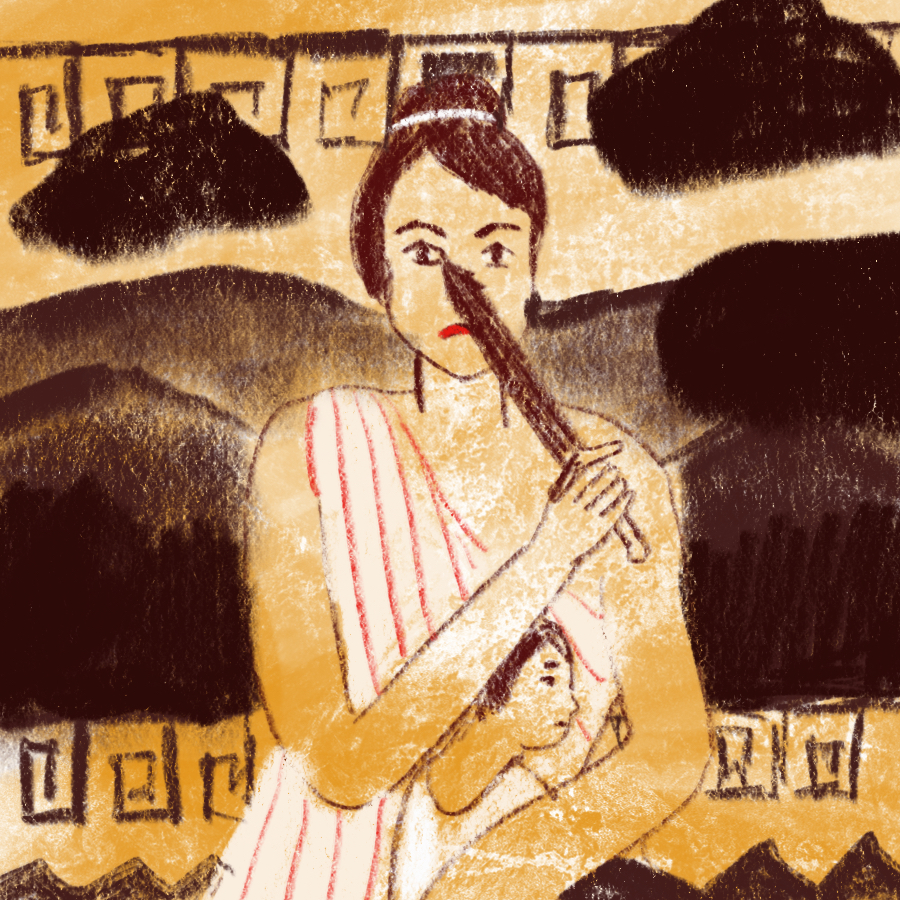 Illustration of Medea feeling vengeful and holding a sword