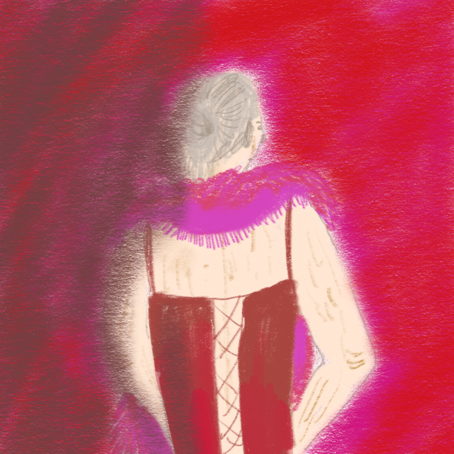 illustration of a woman standing in a corset with a large scarf wrapped around her neck