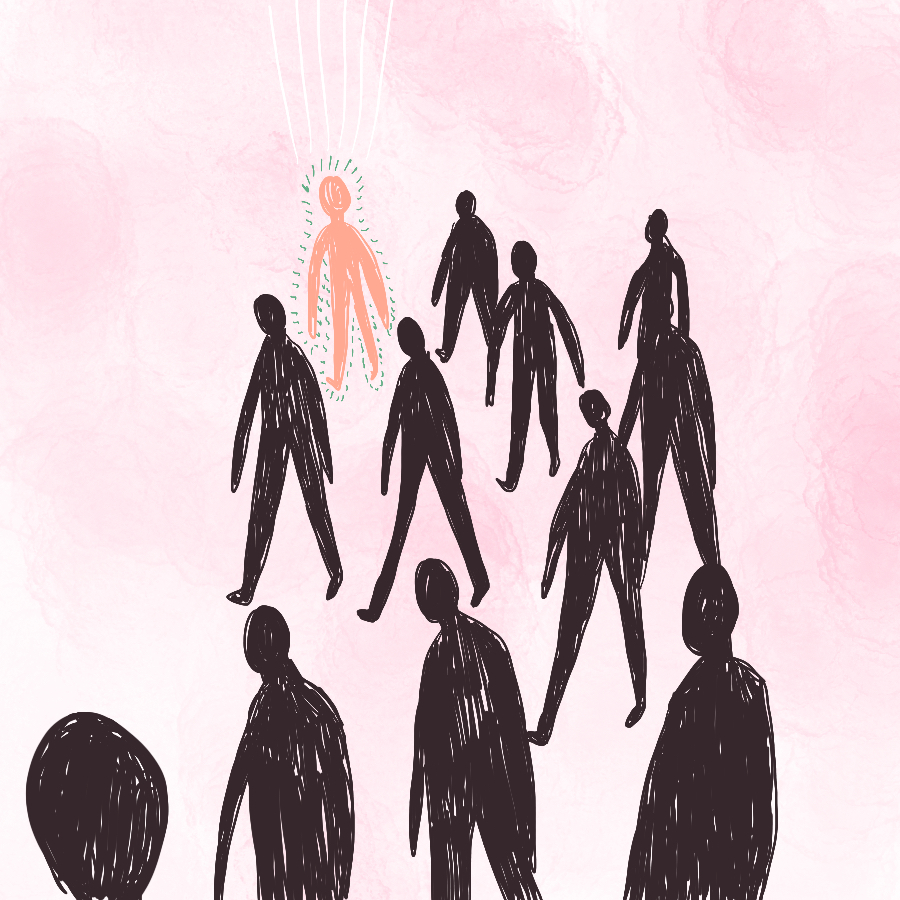 Abstract illustration of 9 black human silhouettes and one pink one