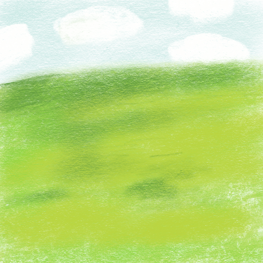 Illustration of blue skies and clouds above green land