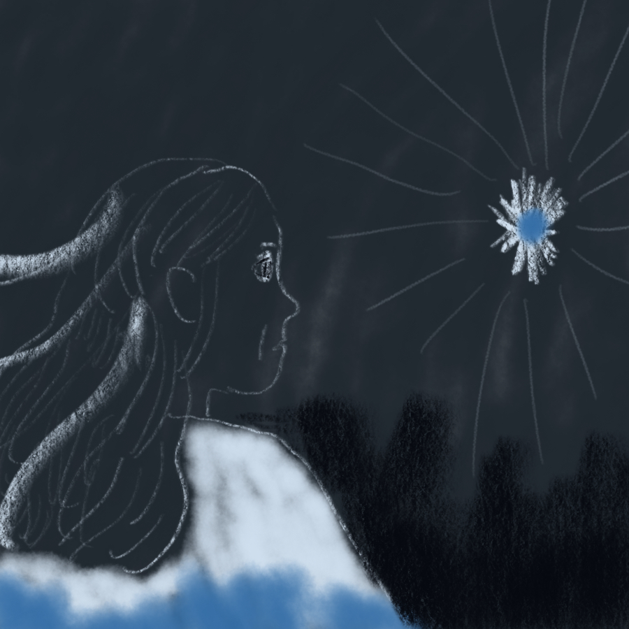 illustration of a woman in profile looking across a dark sky at a shining blue star