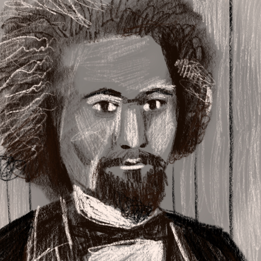 Black and white illustration of Frederick Douglass
