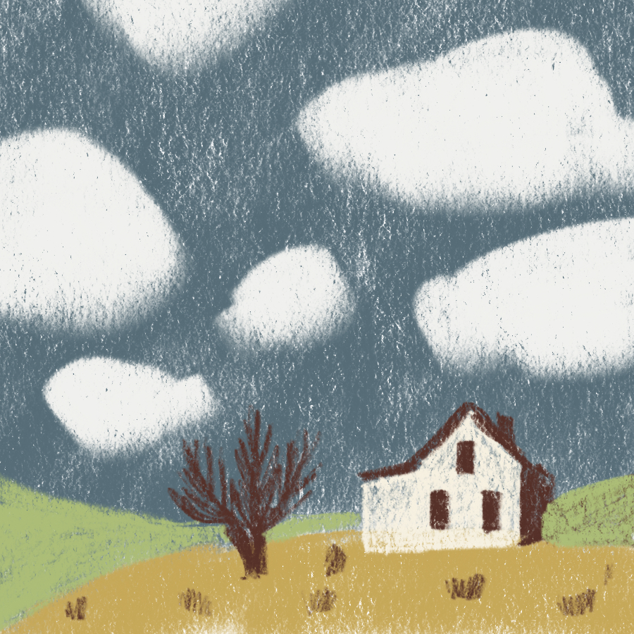 illustration of a small farmhouse set against an open countryside with clouds floating in the blue sky