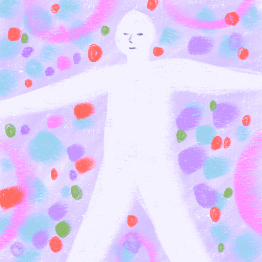 person smiling and standing with arms and legs outstretched surrounded by colored shapes