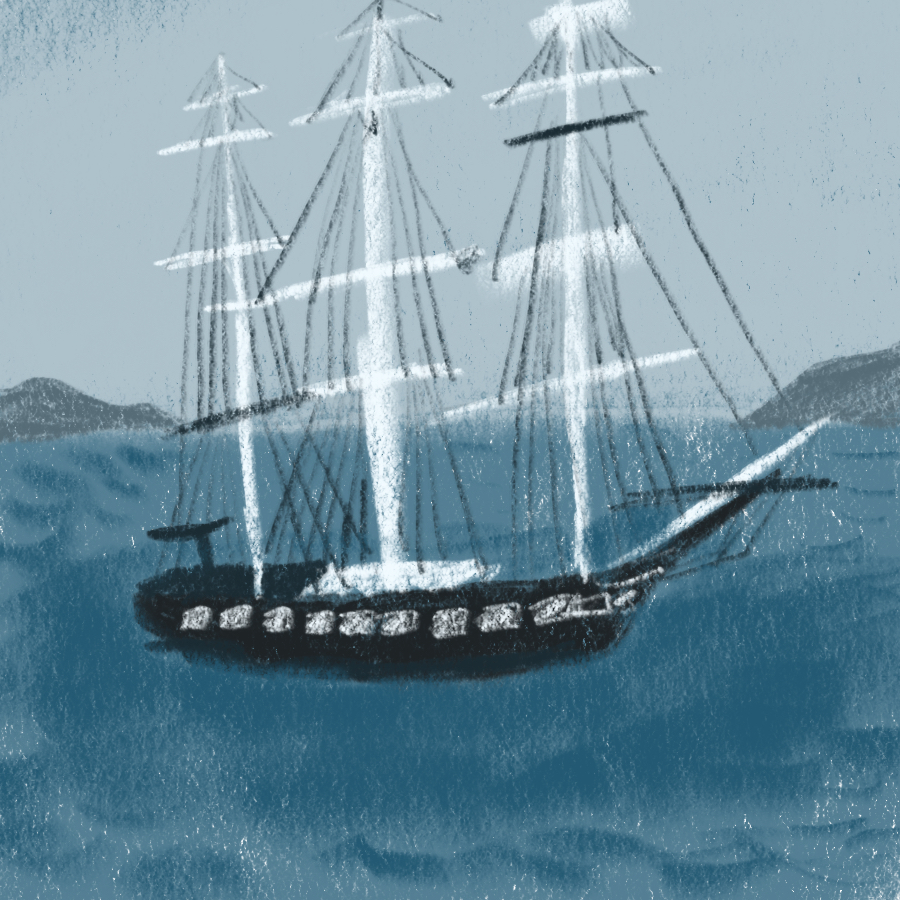 illustration of a three-masted galleon at sea