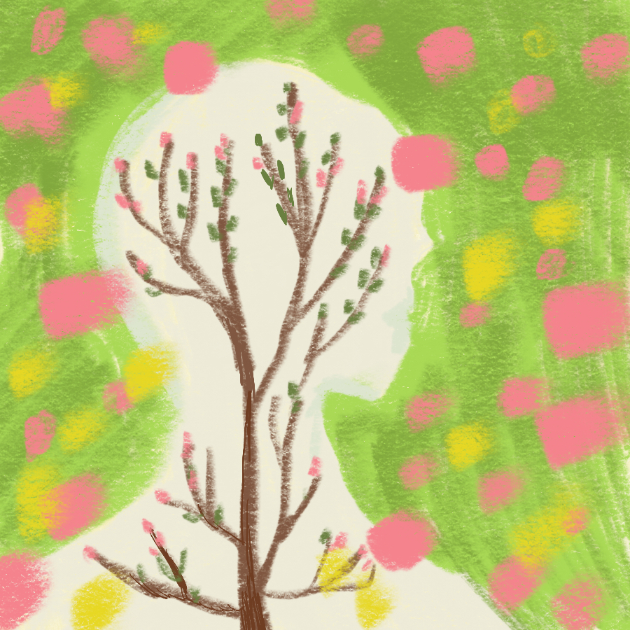 Abstract illustration a tree inside a human shape with pink and yellow paintbrush spots in the background