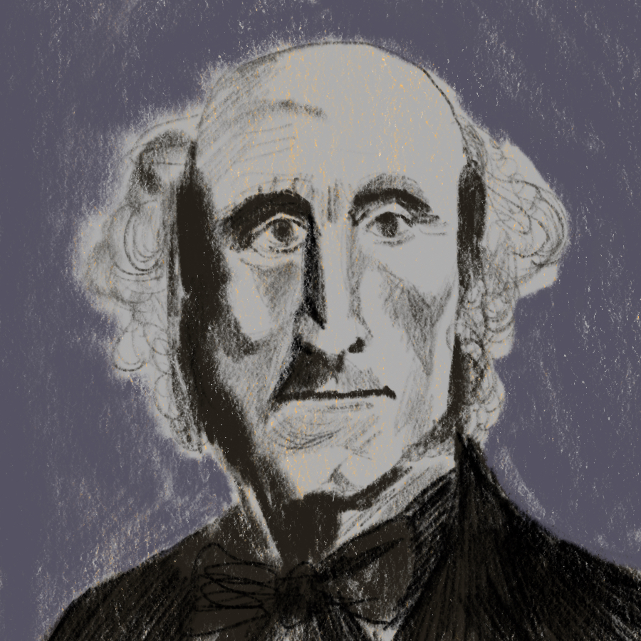 illustrated portrait of English writer John Stuart Mill