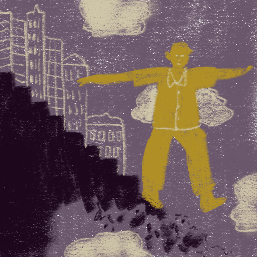 man with outstretched arms walking down black stairs away from a city skyline and stepping into nothing