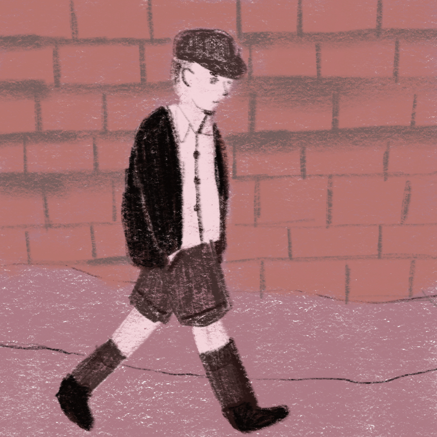 illustration of main character, Penrod, walking down the street with his hands in his pockets