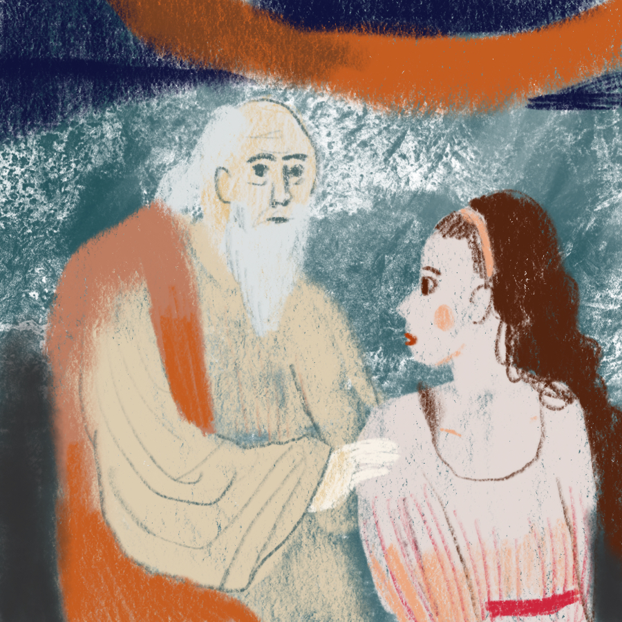 illustration of an older man with his hands on a younger woman's shoulder